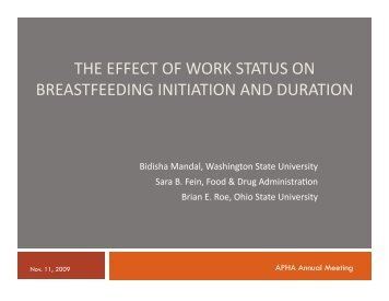 the effect of work status on breastfeeding initiation and duration