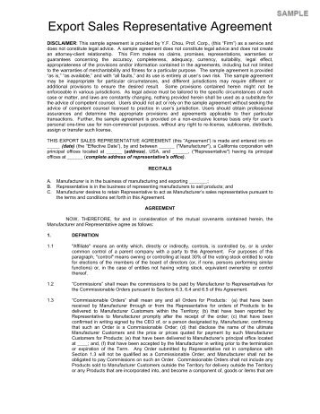 Ipc agreement form d terra for Manufacturers rep agreement template