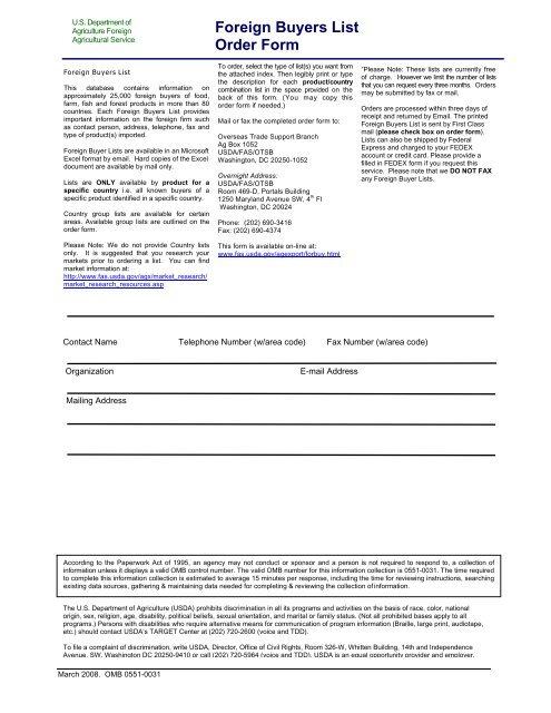 Foreign Buyers List Order Form - U S  Department of Agriculture