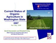 Current Status of Organic Agriculture in Washington State