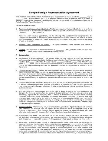 Export sales representative agreement for Manufacturers rep agreement template