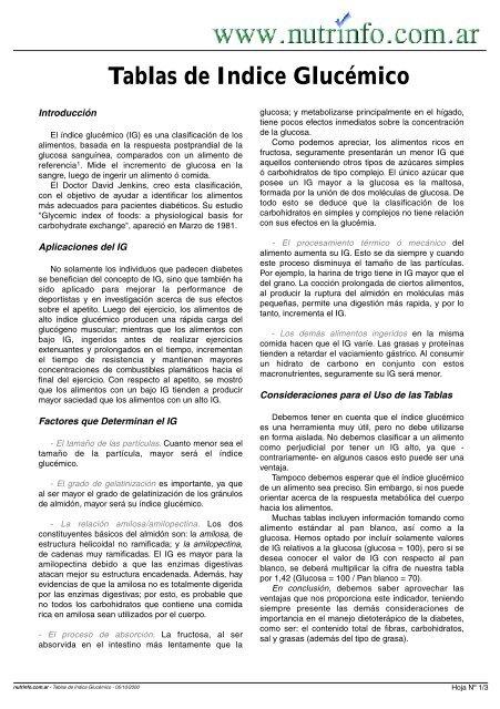 tablas de indice glucemico para diabeticos pdf