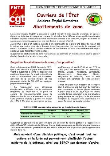 salaires emploi retraite abattement zone - La fnte - La cgt