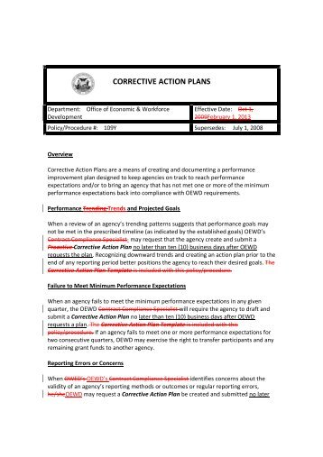 CORRECTIVE ACTION PLANS - Workforcedevelopmentsf.org