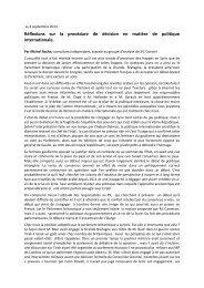 Réflexions sur la procédure de décision en matière de ... - JFC Conseil