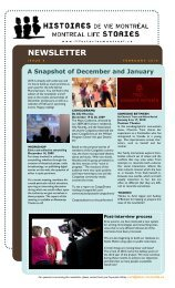 NEWSLETTER - Montreal Life Stories