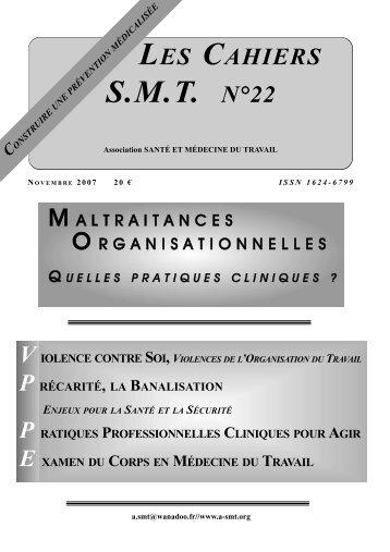 les cahiers smt n°22 association sante et medecine du travail