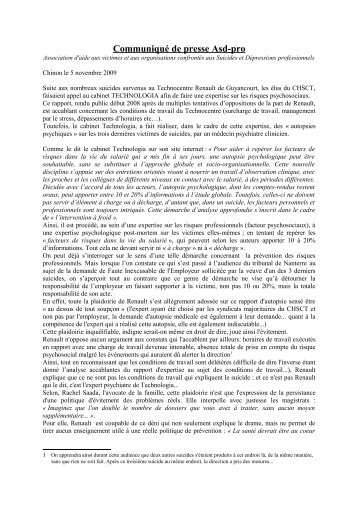COMMUNIQUE DE PRESSE ASD-PRO - Comprendre pour agir