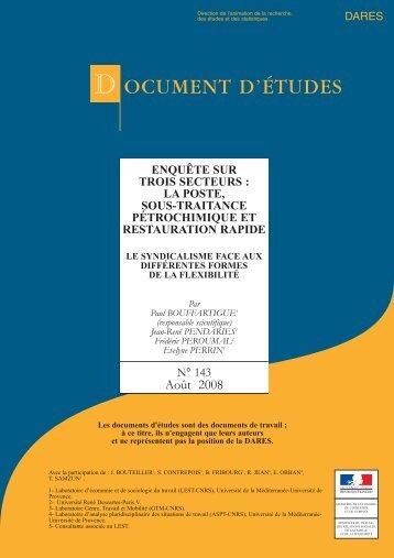 la Poste, sous traitance, pétrochimie et restauration rapide (pdf