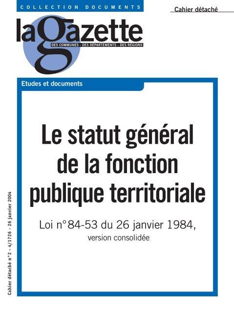 Le Statut General De La Fonction Public Territoriale