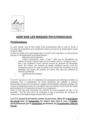 AGIR SUR LES RISQUES PSYCHOSOCIAUX - Comprendre pour agir