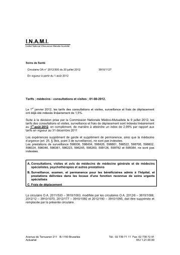 Tarifs des Médecins - A partir du 01/08/2012 - Inami