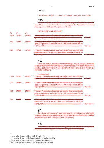 Art. 16. § 1er. § 2. § 3. § 4.