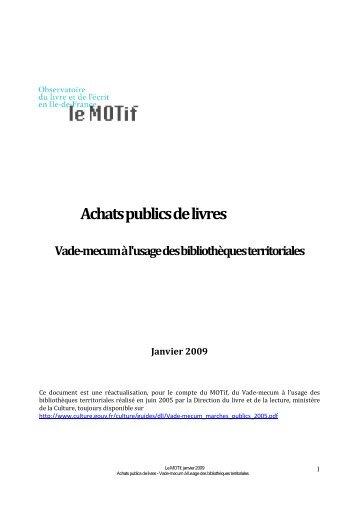 Vade-mecum des achats publics de livres [pdf - 395,0 K.o. ] - Le Motif