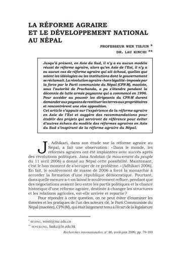 La RéfoRme agRaiRe et Le DéveLoppement nationaL au népaL
