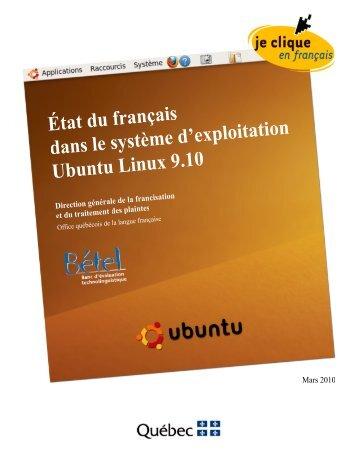 État du français dans les système d'exploitation UBUNTU - Office ...