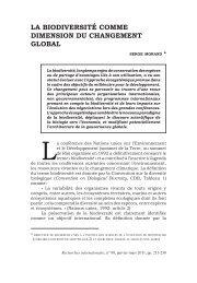 La biodiversité comme dimension du changement gLobaL