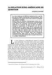La relation euro-américaine en question - Recherches internationales