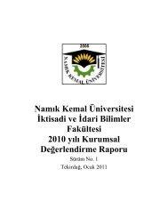 Namık Kemal Üniversitesi İktisadi ve İdari Bilimler Fakültesi 2010 yılı ...