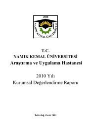 AraĢtırma ve Uygulama Hastanesi 2010 Yılı Kurumsal ...