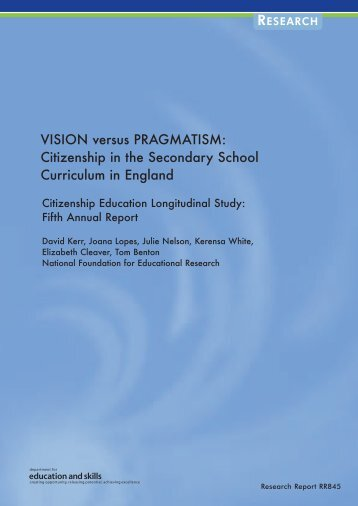 VISION versus PRAGMATISM: Citizenship in the Secondary School ...
