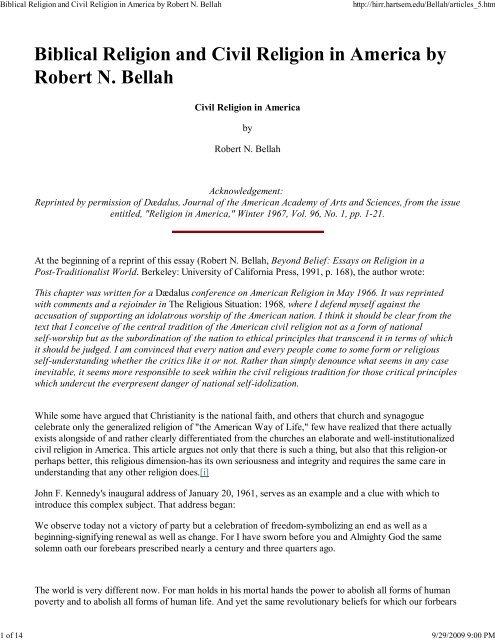 civil religion in america essay