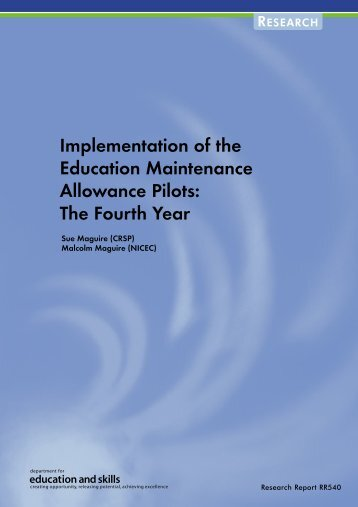 Implementation of the Education Maintenance Allowance Pilots: The ...