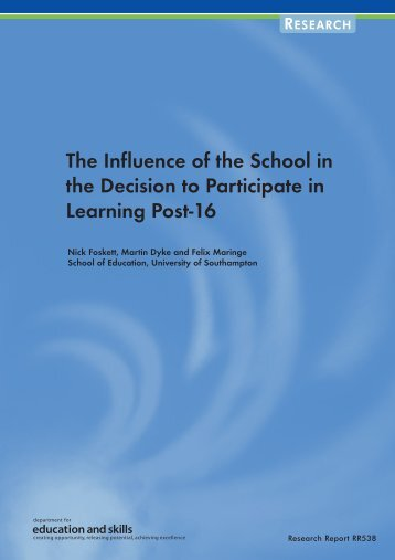 The Influence of the School in the Decision to Participate in Learning ...