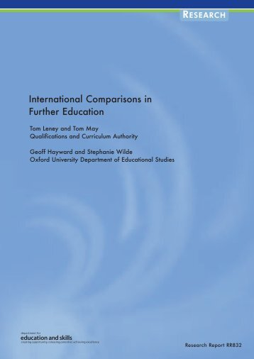International Comparisons in Further Education - Communities and ...