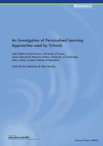 Personalised Learning - Communities and Local Government