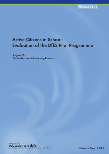 Active Citizens in School: Evaluation of the DfES Pilot Programme