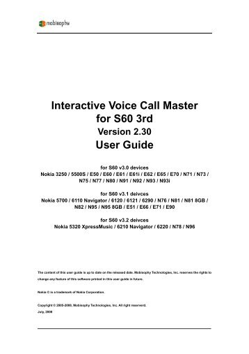 Interactive Voice Call Master for S60 3rd phones - Mobisophy Software