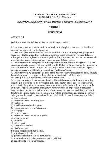legge regionale n. 16 del 28-07-2004 regione emilia ... - Promocamp