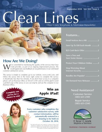 September_2010_Clear_Lines - Clear Creek Communications