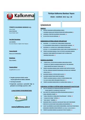 Kalkınma Dergisi Nisan-Haziran 2013 68. Sayı - Türkiye Kalkınma ...