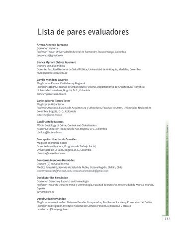 Lista de pares evaluadores - Policía Nacional de Colombia.