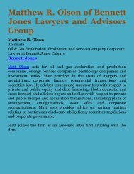 Matthew R. Olson of Bennett Jones Lawyers and Advisors Group
