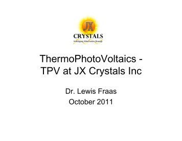 Intro to TPV at JX Crystals Inc