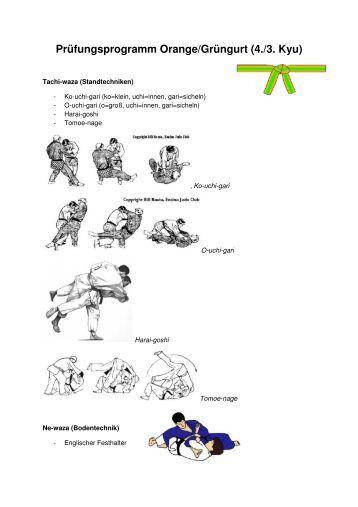 Prüfungsprogramm Orange/Grüngurt (4./3. Kyu)