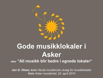 """Foredraget """"All musikk blir bedre i gode lokaler"""" - Norsk musikkråd"""