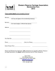 2013 WRCA Membership Form - Western Reserve Carriage ...
