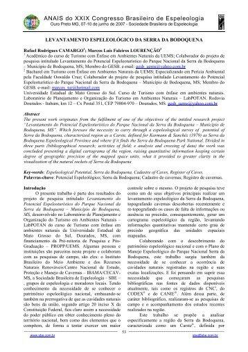 ANAIS do XXIX Congresso Brasileiro de Espeleologia - Sociedade ...