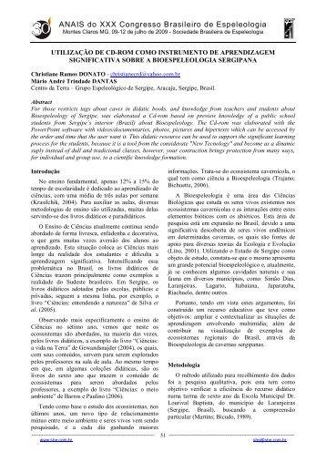 ANAIS do XXX Congresso Brasileiro de Espeleologia - Sociedade ...