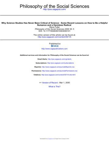 Philosophy of the Social Sciences - About James H. Collier - Virginia ...