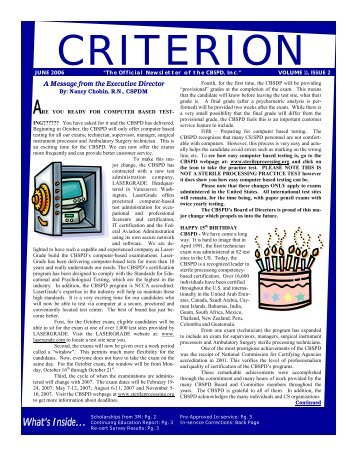 CRITERION - The Official CBSPD Website