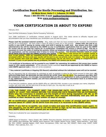 your certification is about to expire! - The Official CBSPD Website