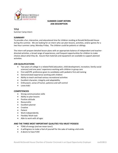 Social Work Intern Job Description | Summer Camp Intern Job Description Title Summary Job Qualifications