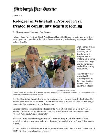 Refugees in Whitehall's Prospect Park treated to ... - St. Clair Hospital