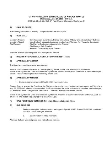city of charlevoix zoning board of appeals minutes - The City of ...