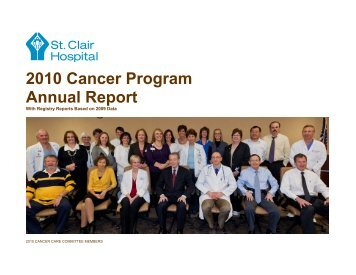 2010 Cancer Program Annual Report - St. Clair Hospital